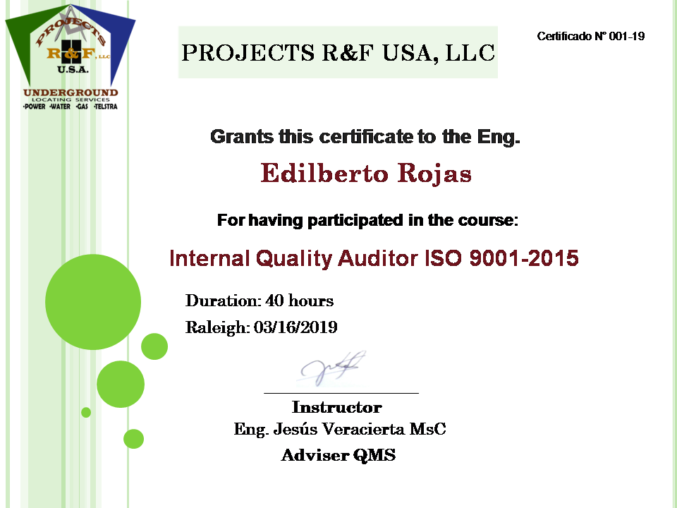 PROJECTS RF USA. Image 5. Certification of our CEO in the Training (03/19/2019)