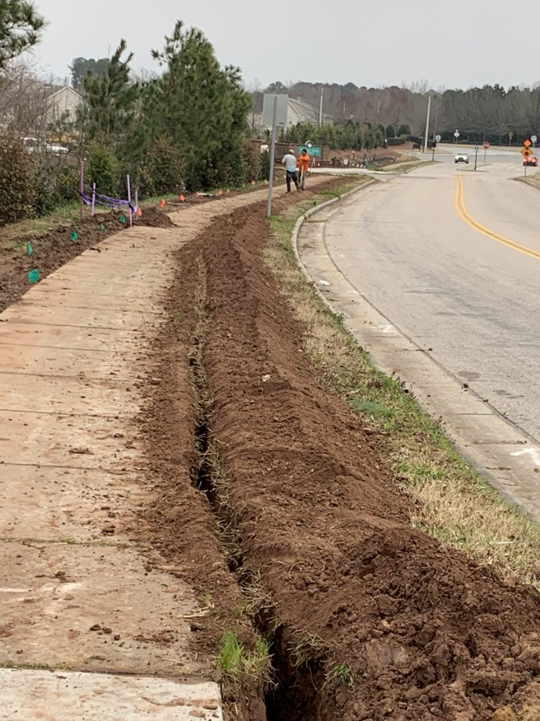 PROJECTS RF USA. Image 1. Excavated ditch for installation of new services (03/11/2019)