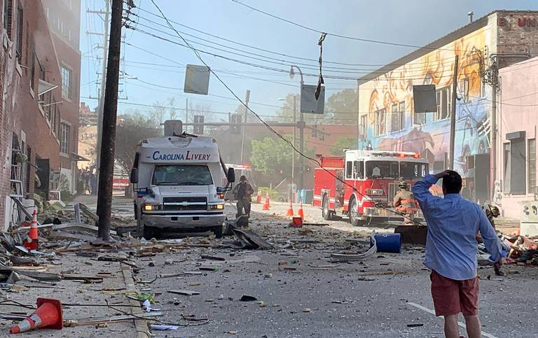Image 1. Vicinity of 115 N. Duke Street in Durham -NC after explosion (Apr-2019). PROJECTS RF USA
