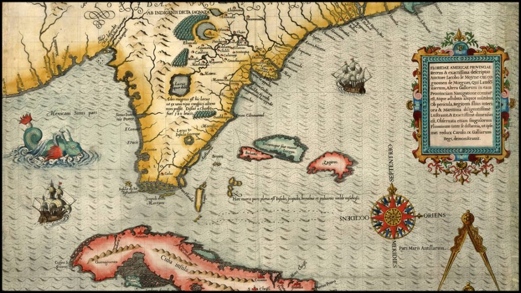 Image 2. Antique Map of Cuba & Florida 1591 by Theodor de Bry (https://canales.elcomercio.es -Apr2019). PROJECTS RF USA