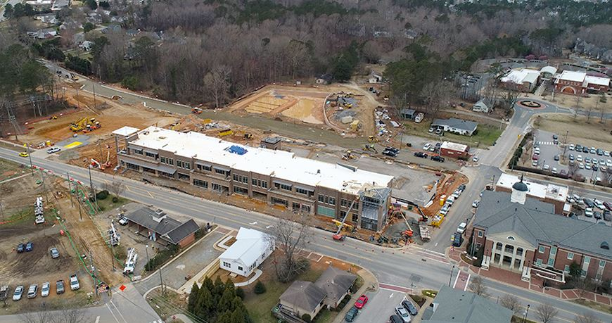PROJECTSRFUSA. Image 3. Aerial view of a construction site in Holly Springs (http://hollyspringsnc.us - May2019)