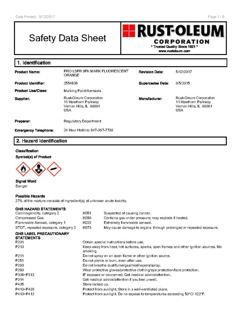 PROJECTRFUSA. Image 4. Safety Data Sheet (1rs Pag.) of the paint in Spray RUST-OLEUM (May 2019)