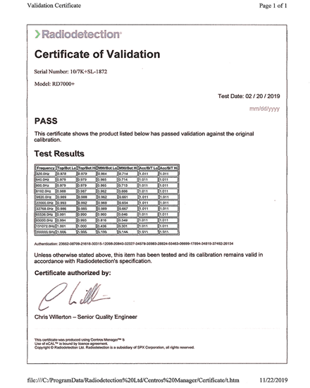 Certificate of Locator Calibration